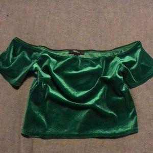 Emerald Green Off Shoulder Crop Top - Size Med